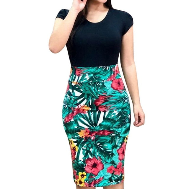 Female Floral Pencil Dress Black O-neck 2 / S