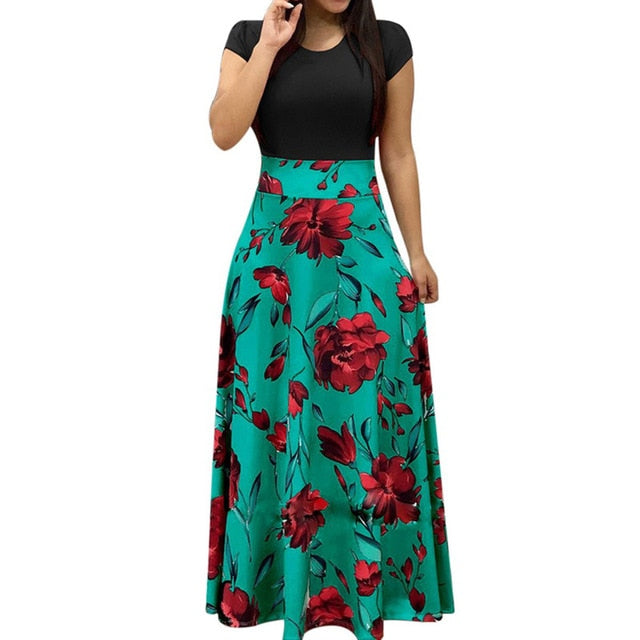 Female Floral Pencil Dress Black long 3 / XXXL