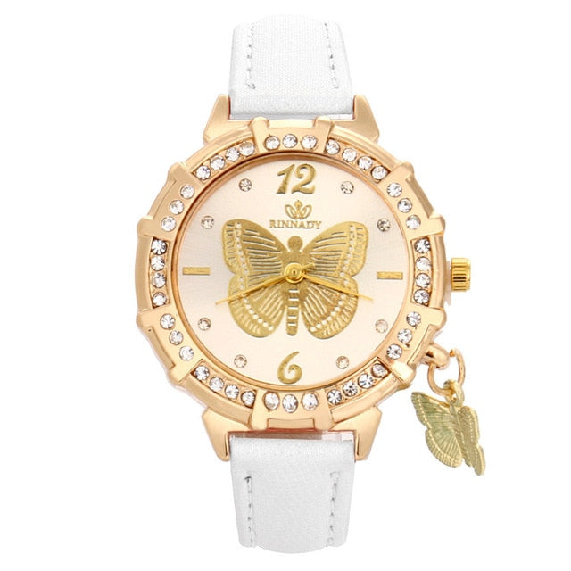 Butterfly pendant leather ladies watch White