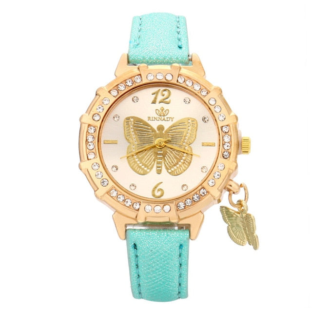 Butterfly pendant leather ladies watch Green