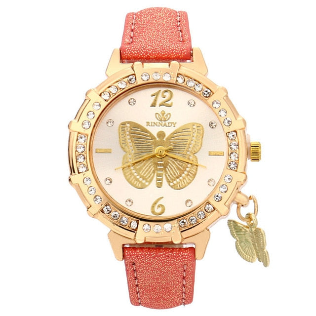 Butterfly pendant leather ladies watch Orange