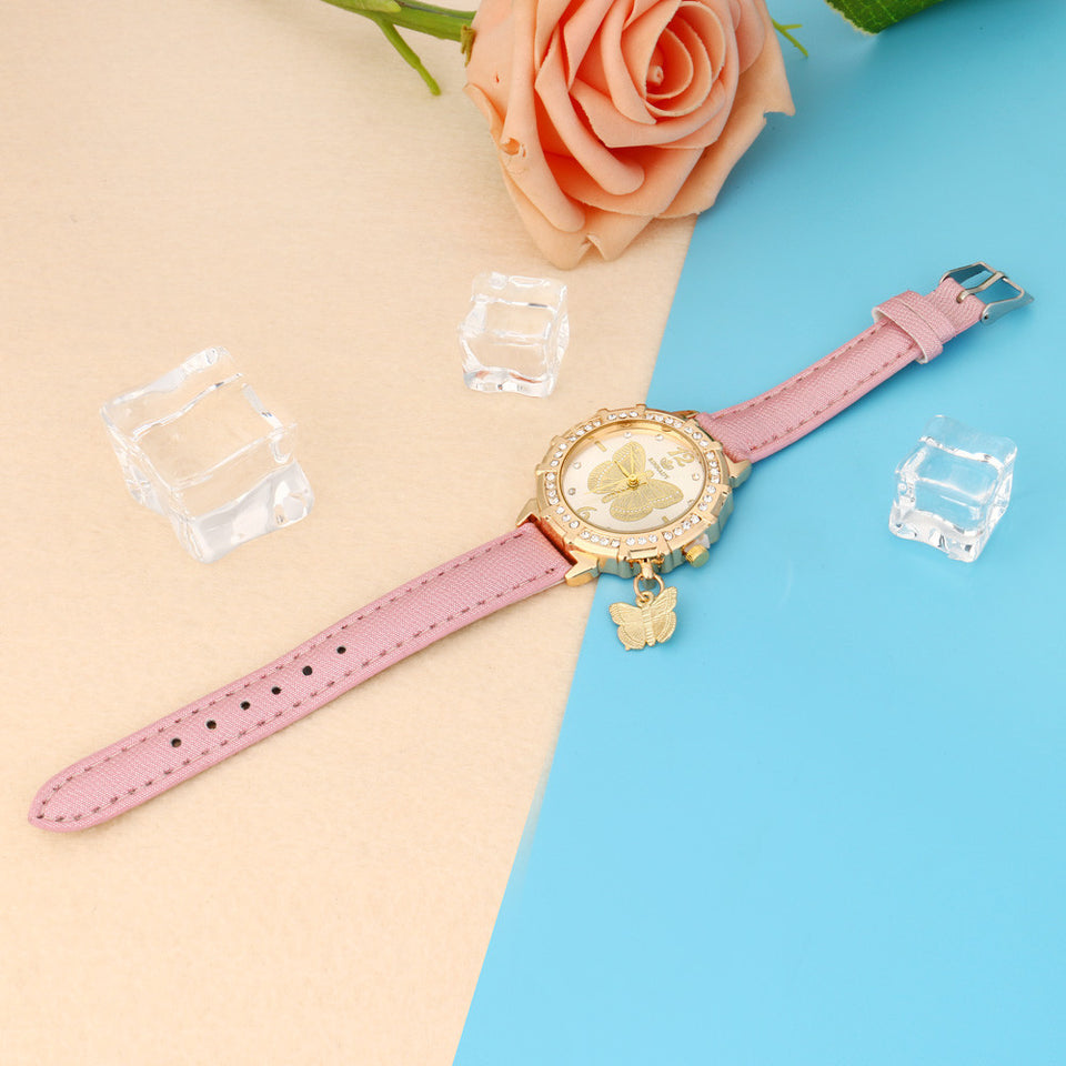 Butterfly pendant leather ladies watch