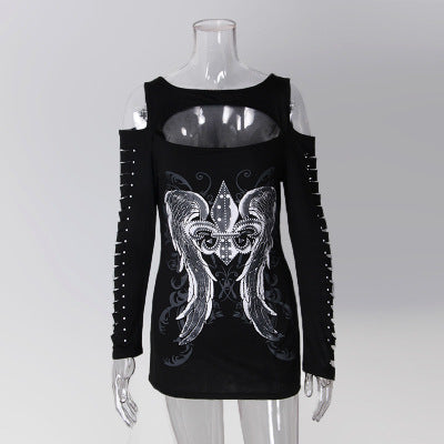 Long sleeve hollow out punk bodycon t-shirt 2 / XXXL