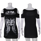 Long sleeve hollow out punk bodycon t-shirt