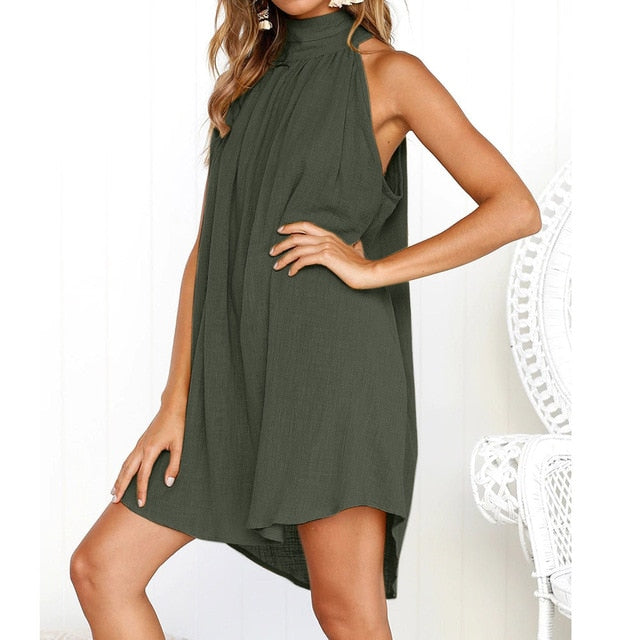 Ladies Summer Beach Sleeveless Dress Amry Green / L
