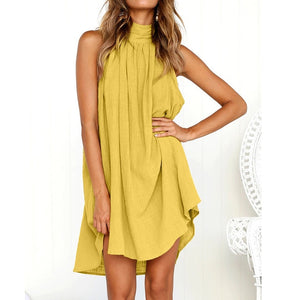 Ladies Summer Beach Sleeveless Dress Yellow / L