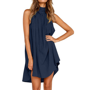Ladies Summer Beach Sleeveless Dress Blue / L