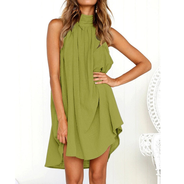Ladies Summer Beach Sleeveless Dress Green / L