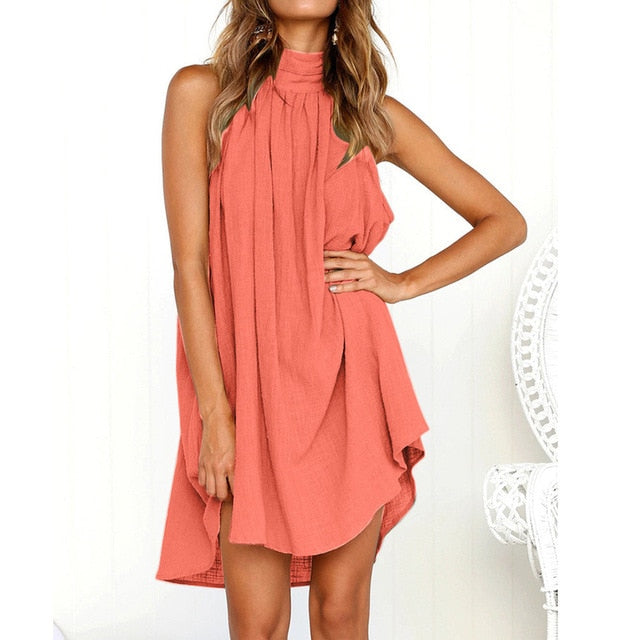 Ladies Summer Beach Sleeveless Dress Pink / L