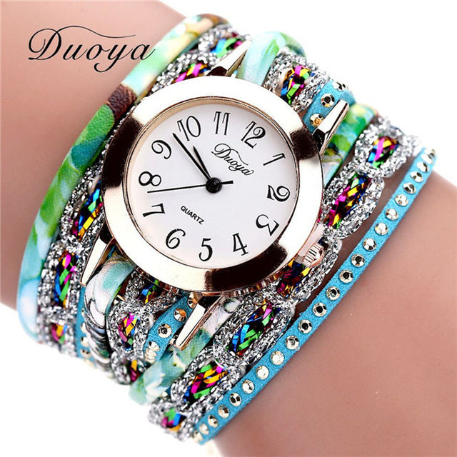 Retro Flower Gemstone Wristwatch blue