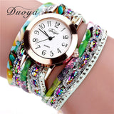 Retro Flower Gemstone Wristwatch green