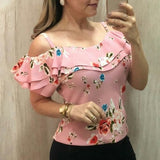 Summer flower print casual ruffle top Pink / S