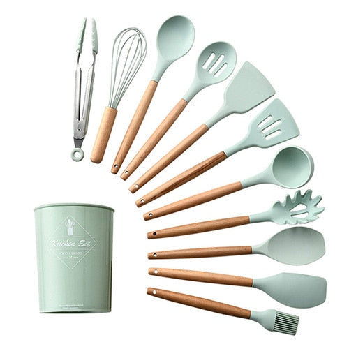 Silicone kitchen cooking utensils set Green 12pcs