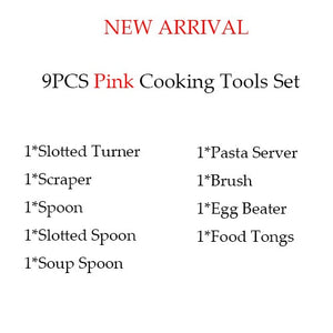 Silicone kitchen cooking utensils set Pink 9pcs
