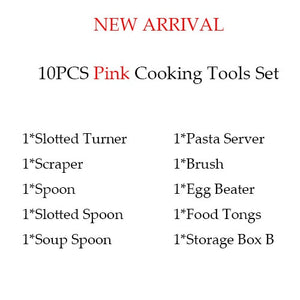Silicone kitchen cooking utensils set Pink 10pcs