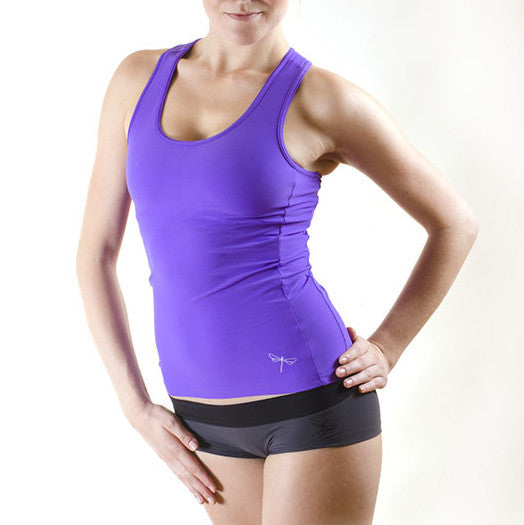 Pole dance and hot yoga tank top with bra - Christine purple front