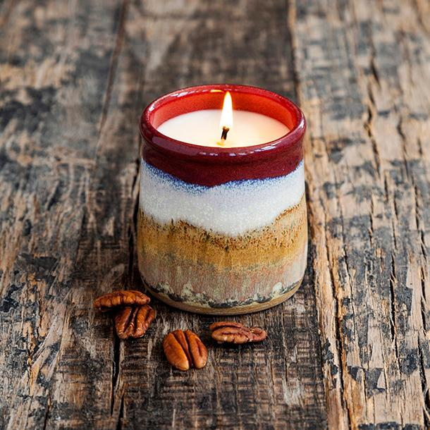 Pottery Candle In Pecan Pie