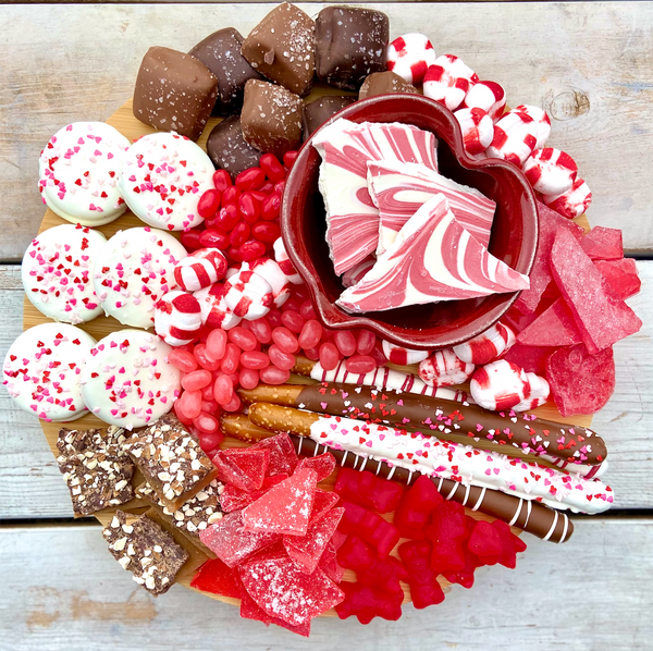 Valentine Candy Charcuterie with Pottery Heart Bowl
