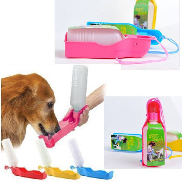 16oz /500ml Folding Plastic Dog Water Bottle Bowl Attachment - doggy in style