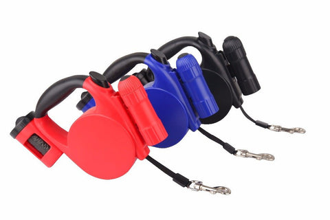 Retractable Leash With Detachable Flashlight And Garbage Bags Holder - doggy in style