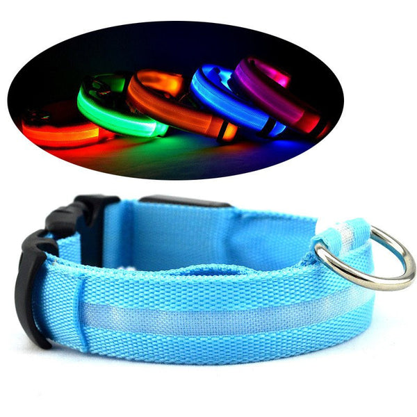 Nylon Collar LED Glow In The Dark 8 Colors 3 Sizes - doggy in style