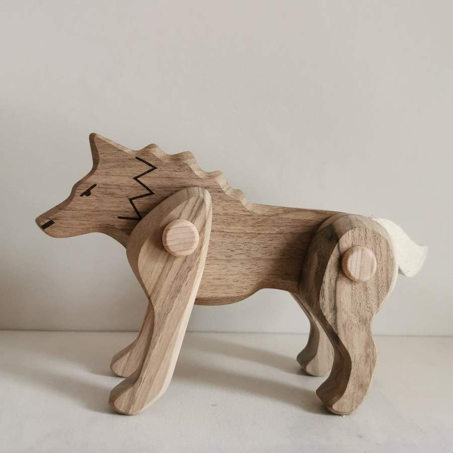 Bajo Wooden Jointed Wolf - Little Whispers