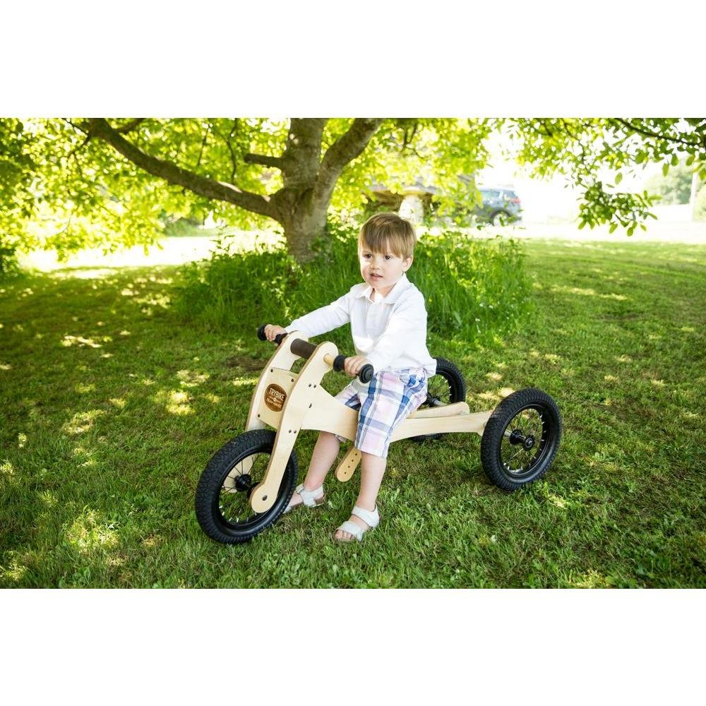 Trybike Natural Wood 4-in-1 Balance Bike + Seat Cover & Safety Pad - Little Whispers