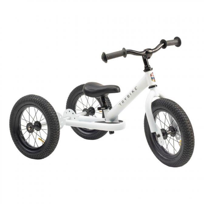 Trybike Steel 2-in-1 Balance Trike - White & Grey - Little Whispers