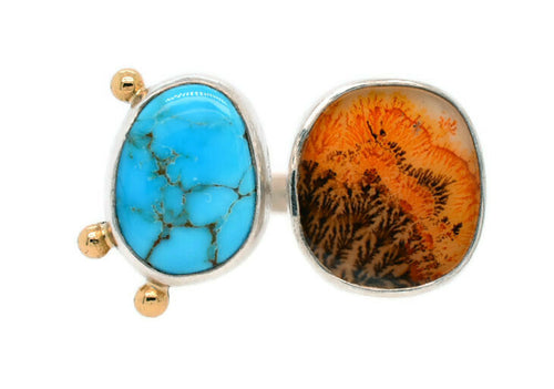 Dendritic Agate and Cloud Nine Turquoise Double Ring