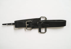 Double Roll Buckle Leather Belt