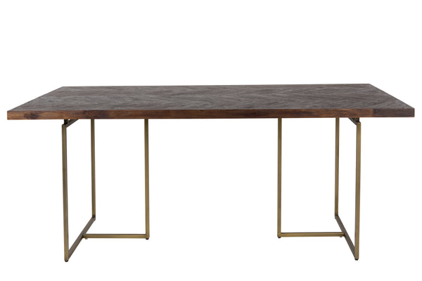Class Wood and Brass Dining Table