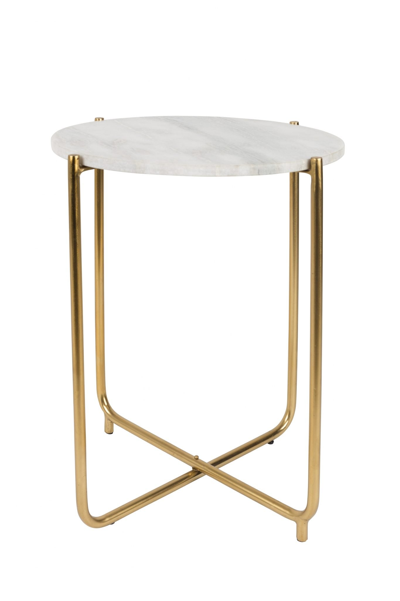 White Marble + Brass Side Table