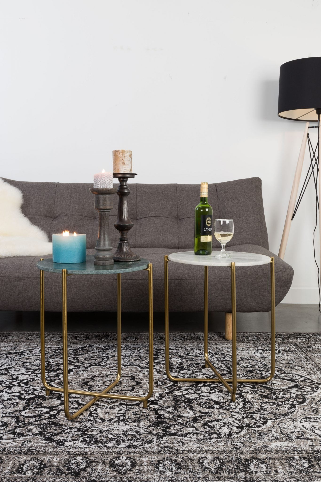 Marble + Brass Side Table
