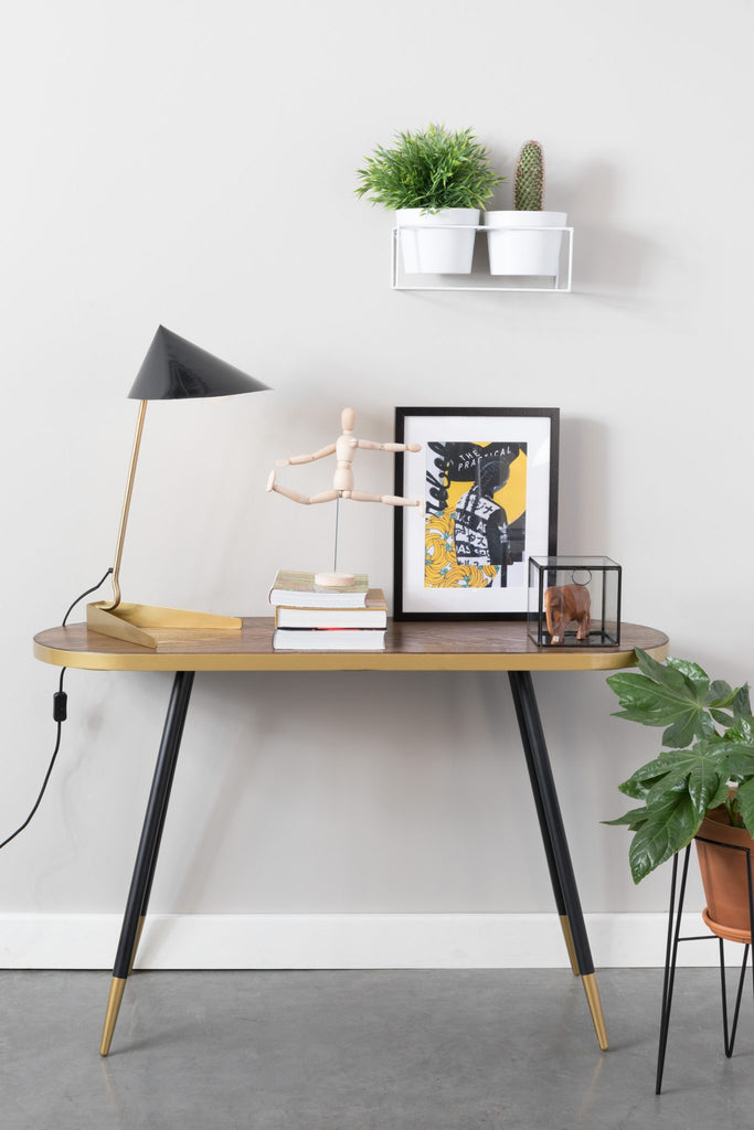 Brass and Wood Hallway Console Table