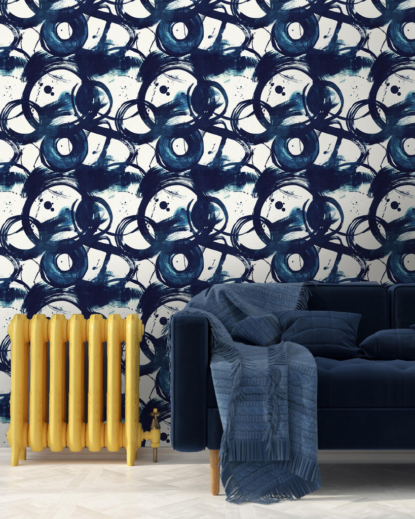 Blue Circle Denim Wallpaper