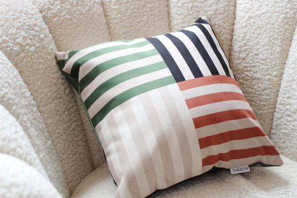 Striped Green Housse Visage Cushion