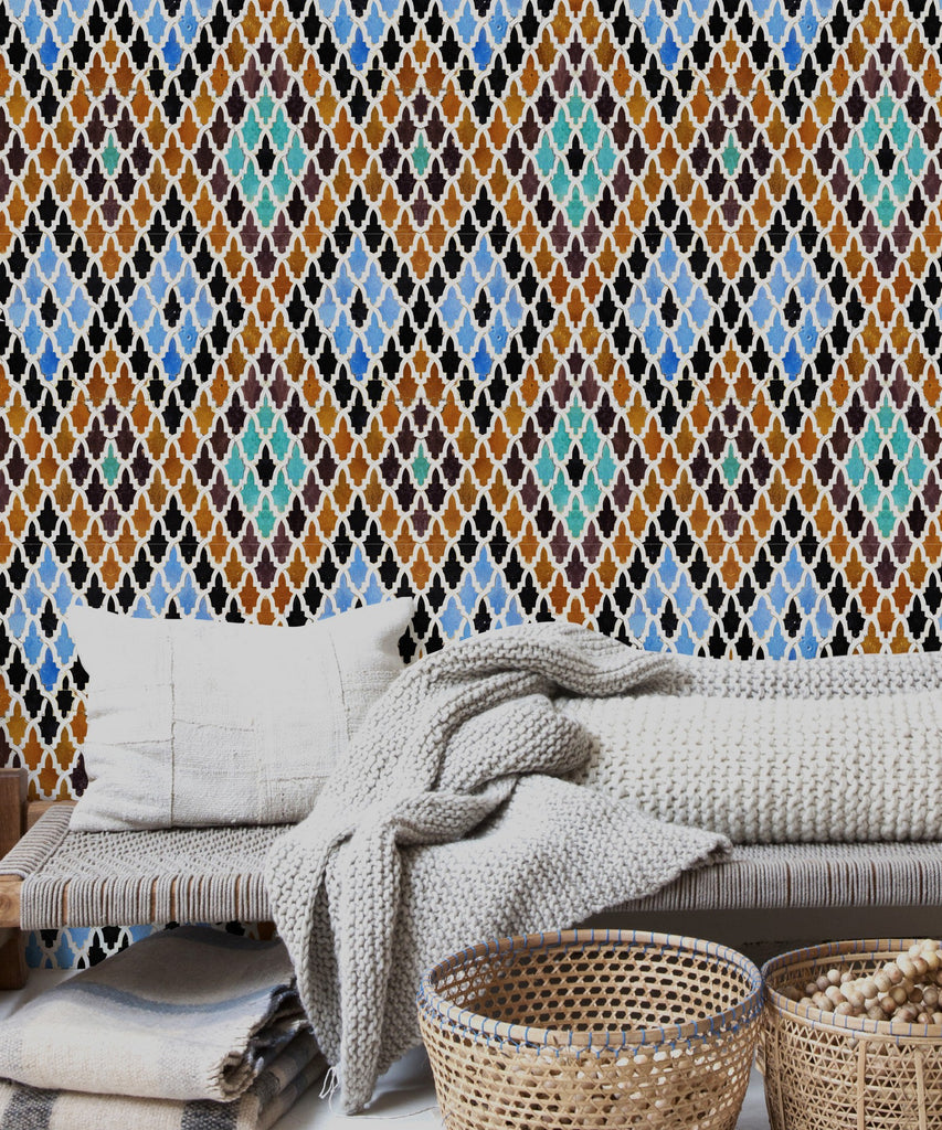 Medersa El-Attarine Colourful Tiles Wallpaper