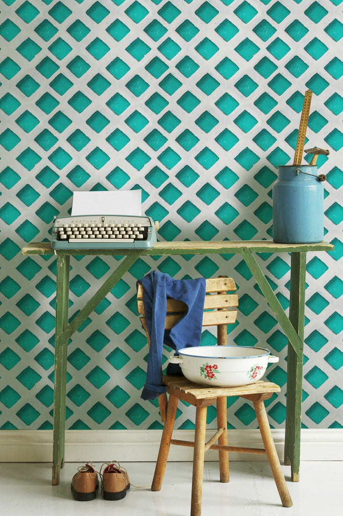 Concrete Patch Turquoise Wallpaper