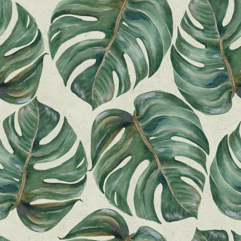 Tropical Leaves Woven Wallpaper
