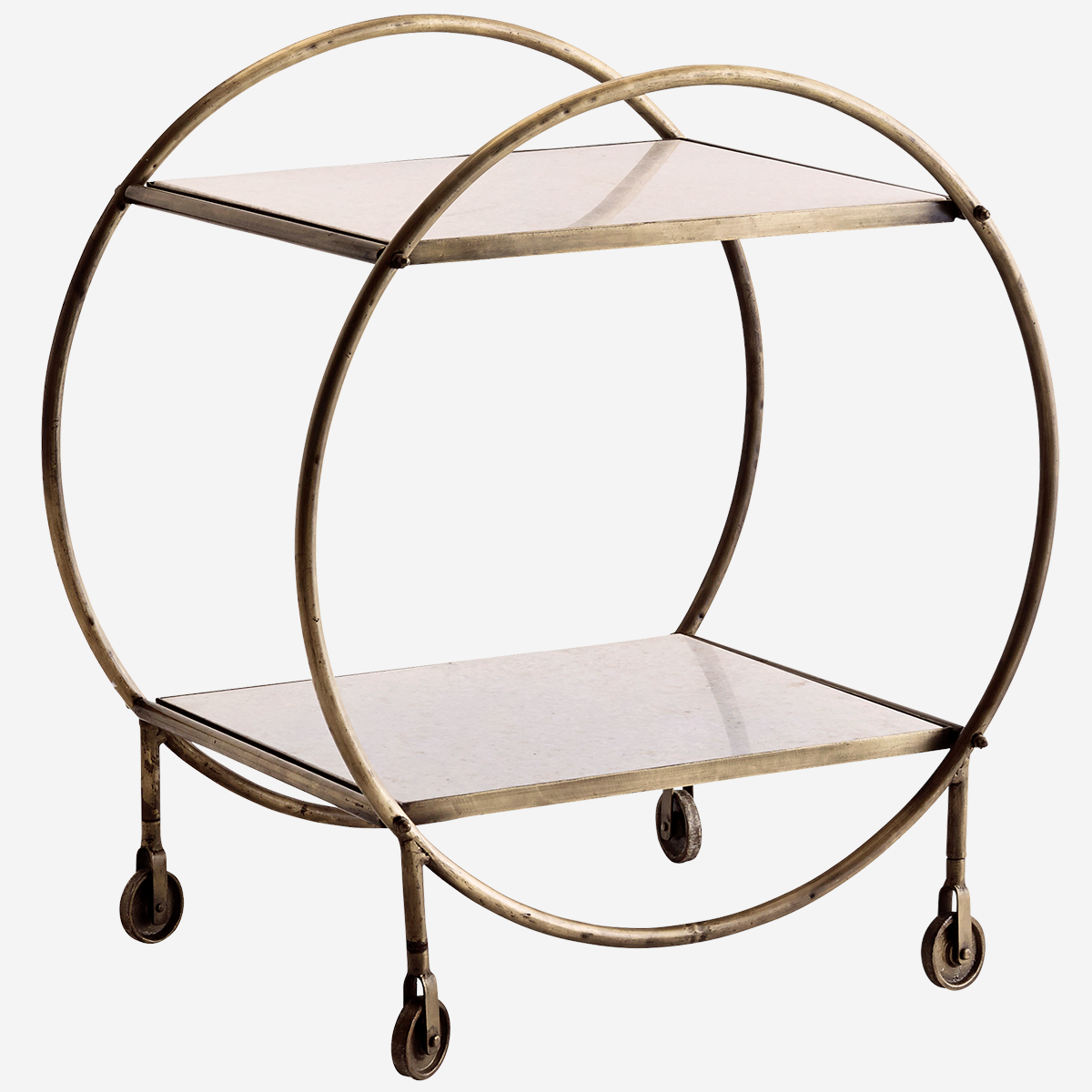 White Marble & Brass Drinks Trolley