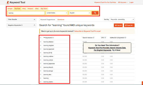 video keyword research tool