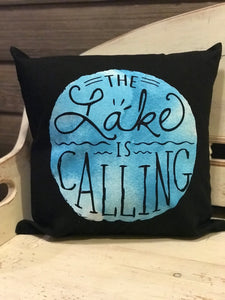 The lake is calling decorative pillow.