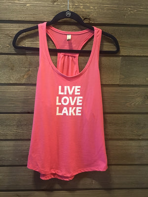 Live, Love Lake women's gathered racerback tank.