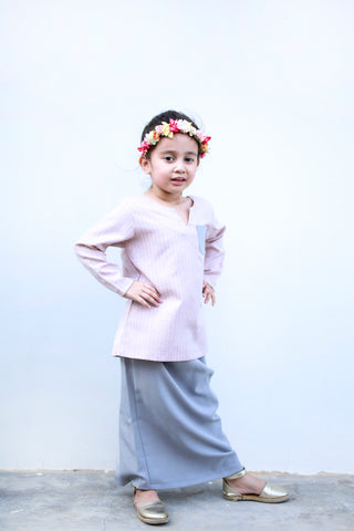 KIDS Vintage Kurung in Dusty Pink & Grey