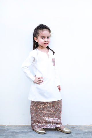 KIDS Kurung Pahang in Brown & White