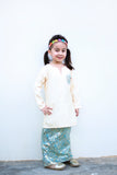 KIDS Kurung Pahang in Blue & Beige