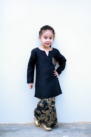KIDS Kurung Brocade in Black