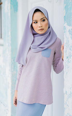 Vintage Kurung in Dusty Pink & Grey