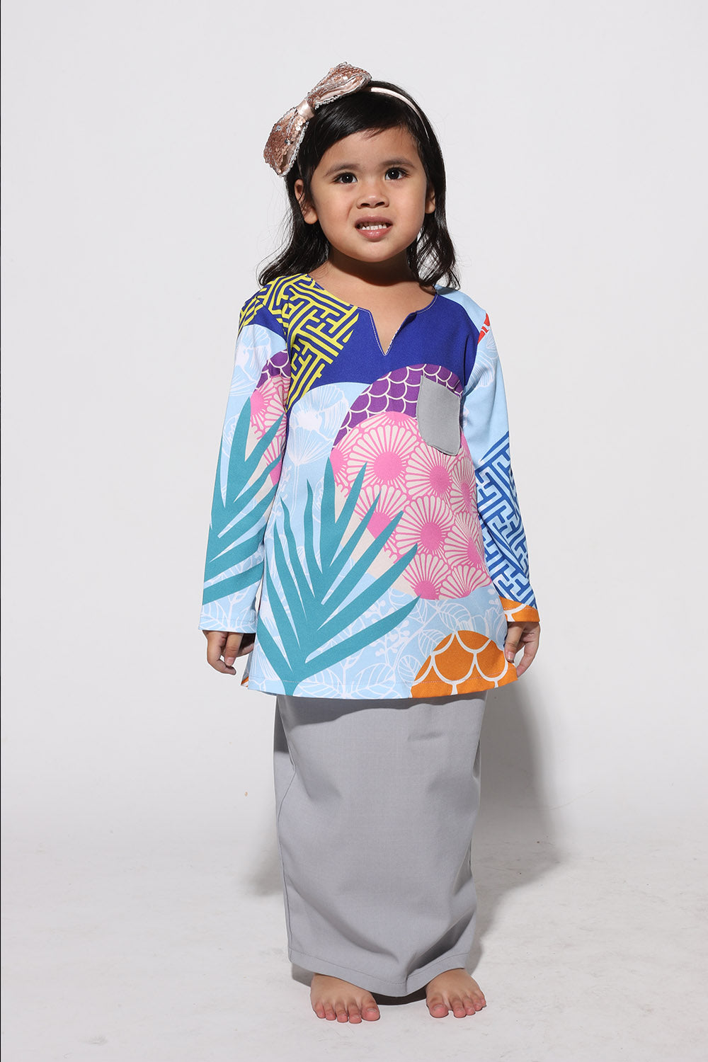 #AYJAPAN Kids Vintage Kurung in Blue and Grey
