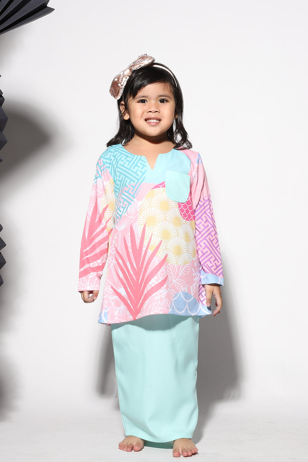 #AYJAPAN Kids Vintage Kurung in Mint Green and Pink